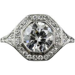 Art Deco 2.24 Carat GIA Cert Diamond Platinum Halo Engagement Ring