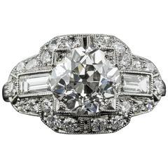 Art Deco 2.11 Carat GIA Cert Diamond Platinum Engagement Ring
