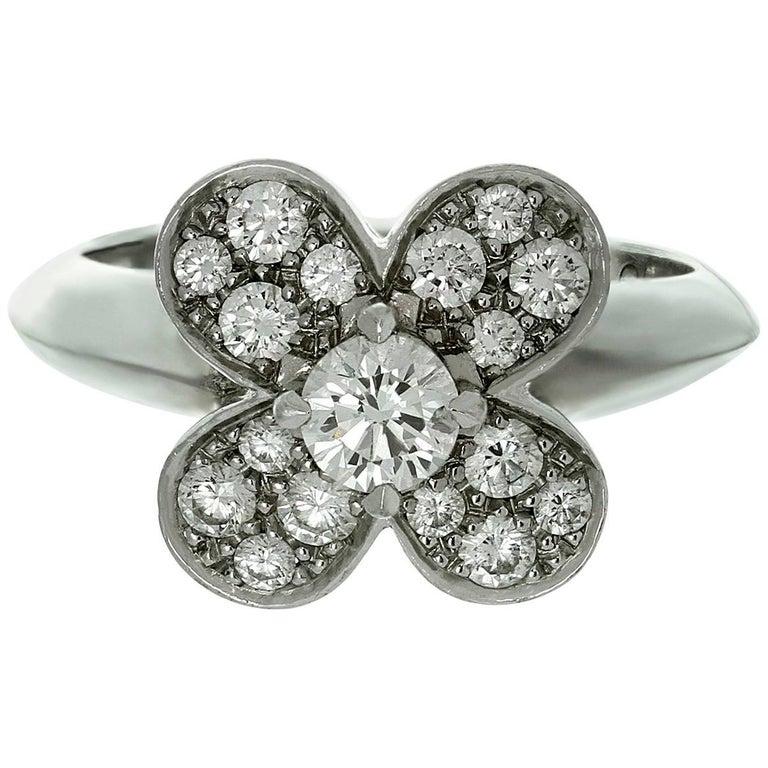 Van Cleef & Arpels Trefle Diamond Gold Ring For Sale