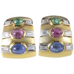 Multicolor Gold Precious Gemstone Clip-On Earrings