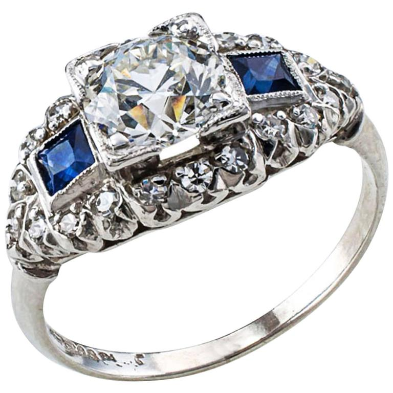 Art Deco Sapphire Diamond Platinum Engagement Ring For Sale