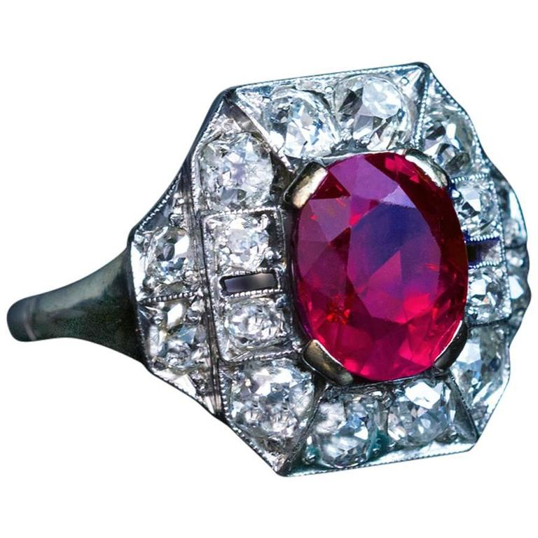 Custom Burma Ruby Ring: Art Deco 2.60 Carat Burmese Ruby Diamond Gold Platinum
