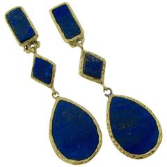 1970s Lapis Lazuli  Gold Dangle Earrings