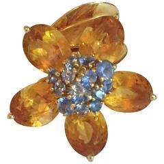 Van Cleef & Arpels Citrine Sapphire Gold Movable Flower Ring