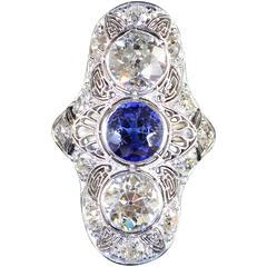 Art Deco Sapphire Diamond Gold Platinum Filigree Ring