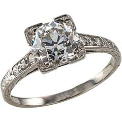 1920s Art Deco 1.39 Carat Diamond Platinum Engagement Ring