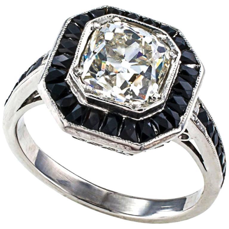 1 85 Carats Old Mine Cushion Cut Diamond Black yx Platinum Engagement Ring