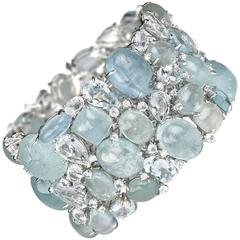 Multi Stone Aquamarine Diamond Gold Bracelet