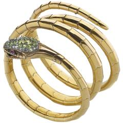 Late Victorian Gold Coil Snake Bangle Bracelet