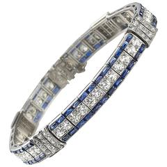1930s Art Deco Sapphire Diamond Platinum Line Bracelet