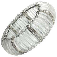 Rock Crystal Diamond Platinum Bracelet