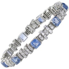Oscar Heyman Sapphire Diamond Platinum Bracelet
