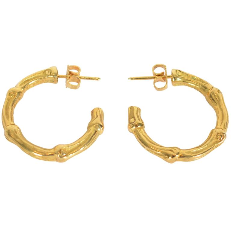 Tiffany Gold Bamboo Style Hoop Earrings For