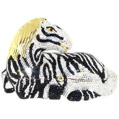 1980s Judith Leiber Swarovski Crystal Zebra Minaudiere Evening Bag