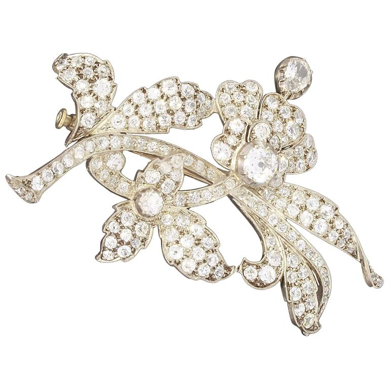 1900 Diamond Gold Platinum Floral Spray Brooch