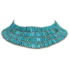 Fabulous American Turquoise Sterling Choker Necklace