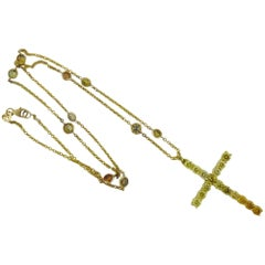 Multicolor Round Diamond 18K Yellow Gold Cross Necklace