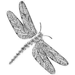 E. Wolfe & Co. Diamond Pave Gold Dragonfly Brooch