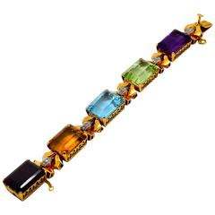 Retro 1940s Large Colored Gemstone Diamond Gold Bracelet