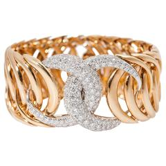Verdura Double Crescent Diamond Gold Platinum Bracelet
