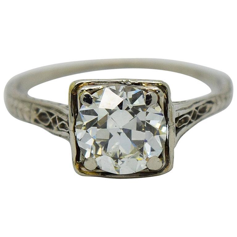 1920s Art Deco 1 25 Carat Diamond Platinum Engagement Ring