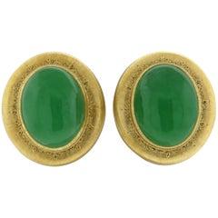 Buccellati Large Jade Gold Cabochon Earrings