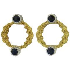 Buccellati Sapphire Gold Open Circle Earrings