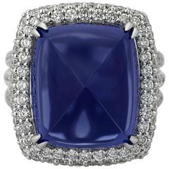 Rare Sugarloaf 22.10 Carat Tanzanite Diamond Ring