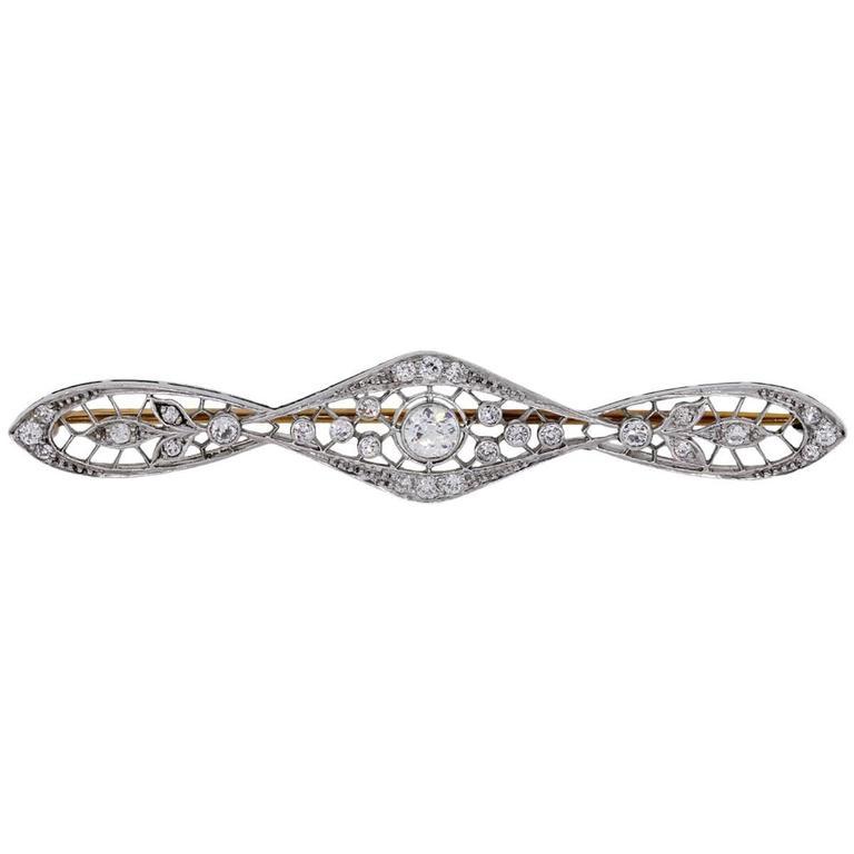 0.70 Carat Diamond Gold Platinum Pin