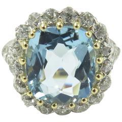 Gorgeous Antique Aquamarine Diamond Gold Platinum Ring