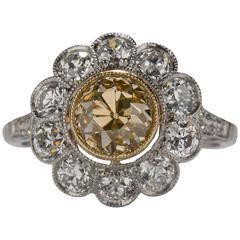 1920s Art Deco Yellow and White Diamond Platinum Ring