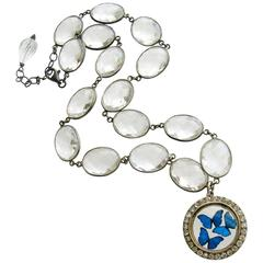 Victorian Butterfly Kaleidoscope Silver Paste Locket Rock Crystal Necklace