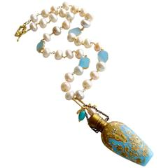 Gilt Embossed Blue Opaline Pearl Chatelaine Scent Bottle Necklace