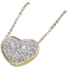 Very Long Diamond Pave Gold Platinum Heart Sautoir