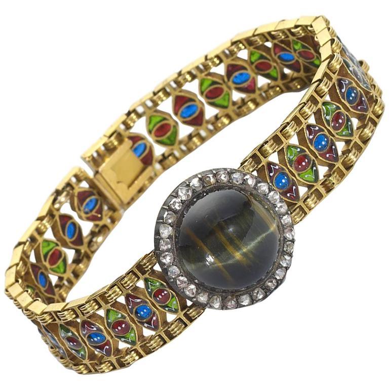 Enamel Blue Tiger's Eye Diamond Gold Bracelet