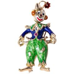 Enamel Ruby Gold Clown Brooch