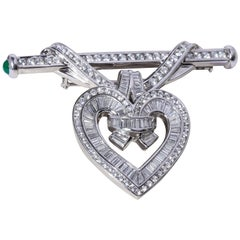 Charles Krypell Platinum and Diamond Convertible Brooch/ Enhancer