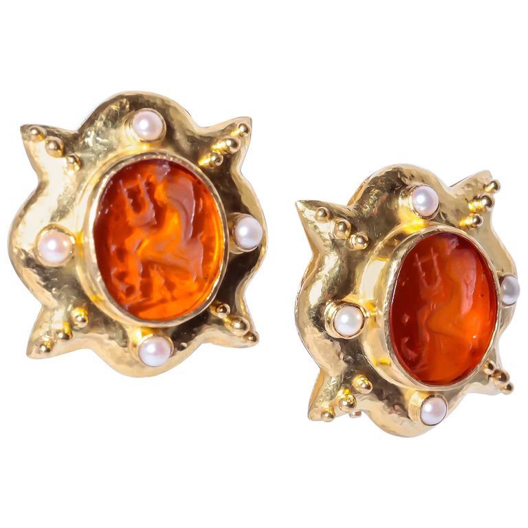 Elizabeth Locke Intaglio Coral Pearl Gold Earrings