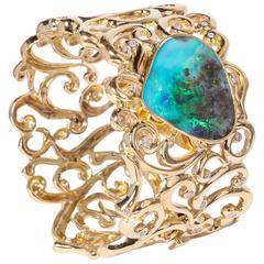 Boulder Opal Diamond Gold Bracelet