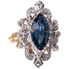 Sapphire Diamond Two Color Gold Ring