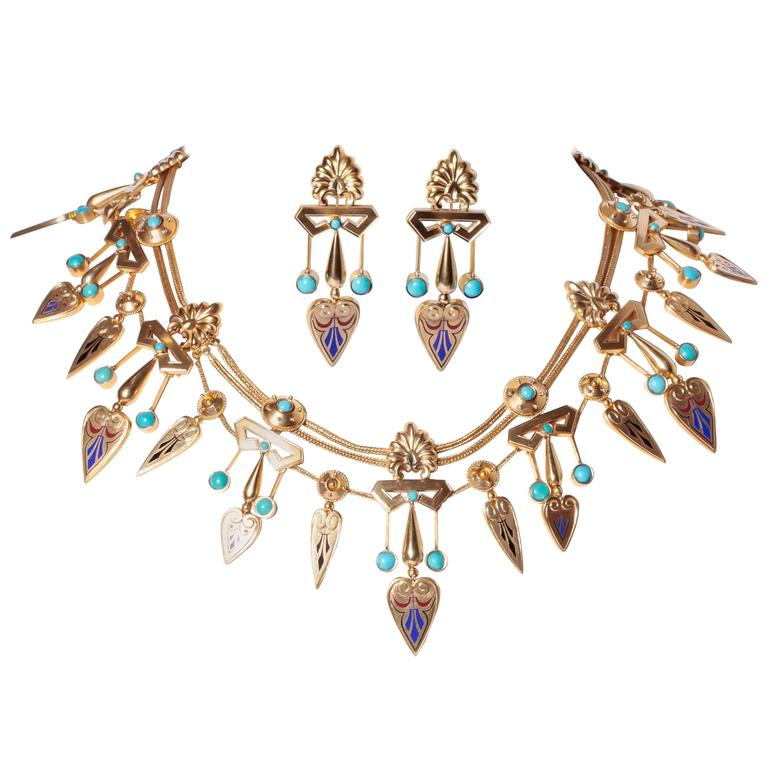 Antique French Egyptian Revival Enamel Turquoise Gold Necklace and Earrings 1