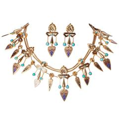 French Egyptian Revival Enamel Turquoise Gold Necklace and Earrings