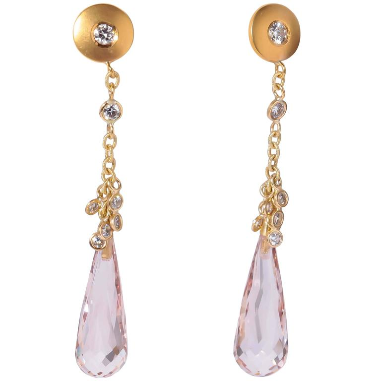 Susan Sadler Morganite Diamond Gold Drop Earrings