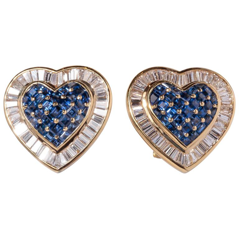 Heart Sapphire Diamond Gold Earrings