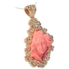 Coral Carved Cameo Gold Pendant