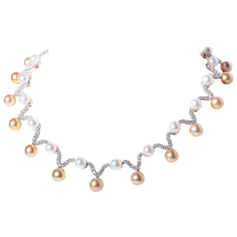 South Sea Pearl Diamond Platinum Necklace