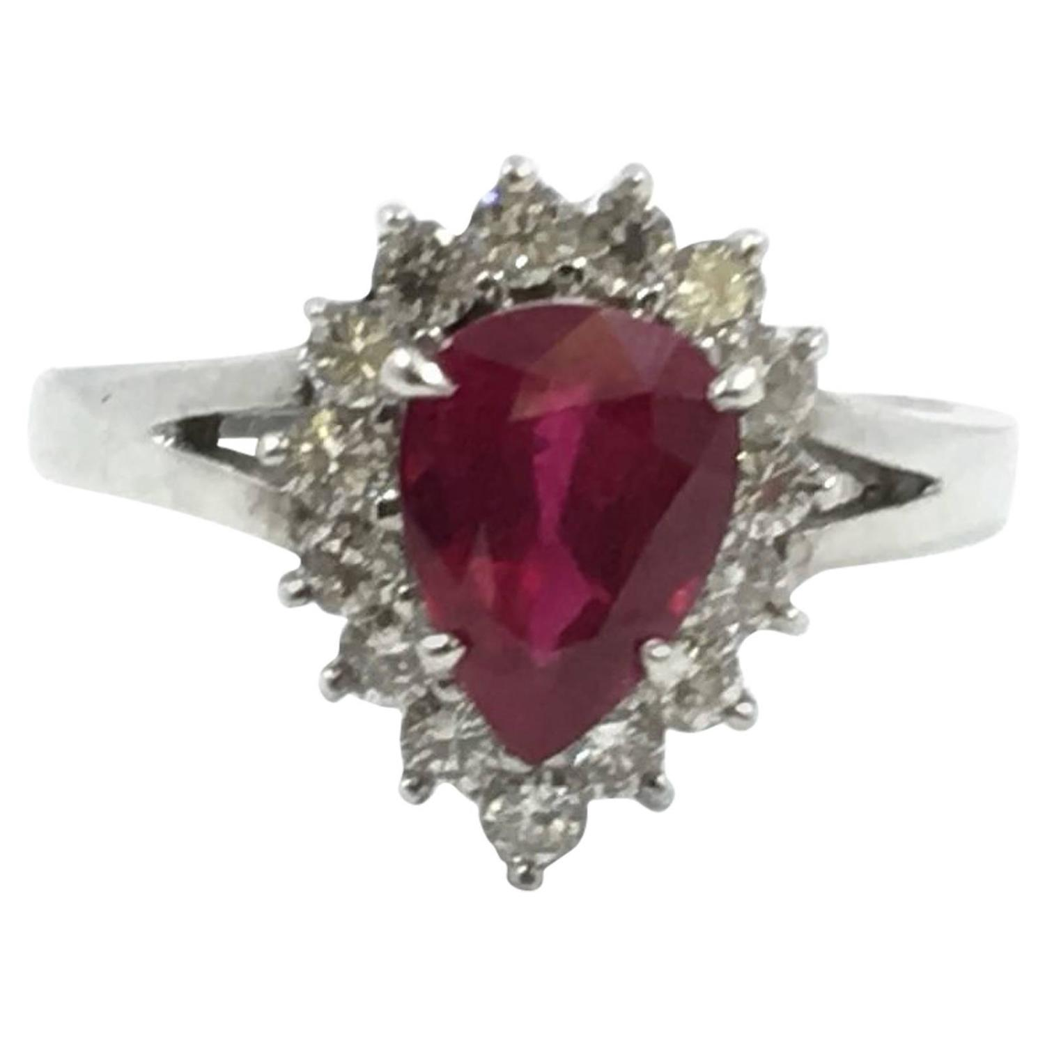 2 5 Carat Pear Shape Natural Ruby Diamond Ring For Sale at 1stdibs