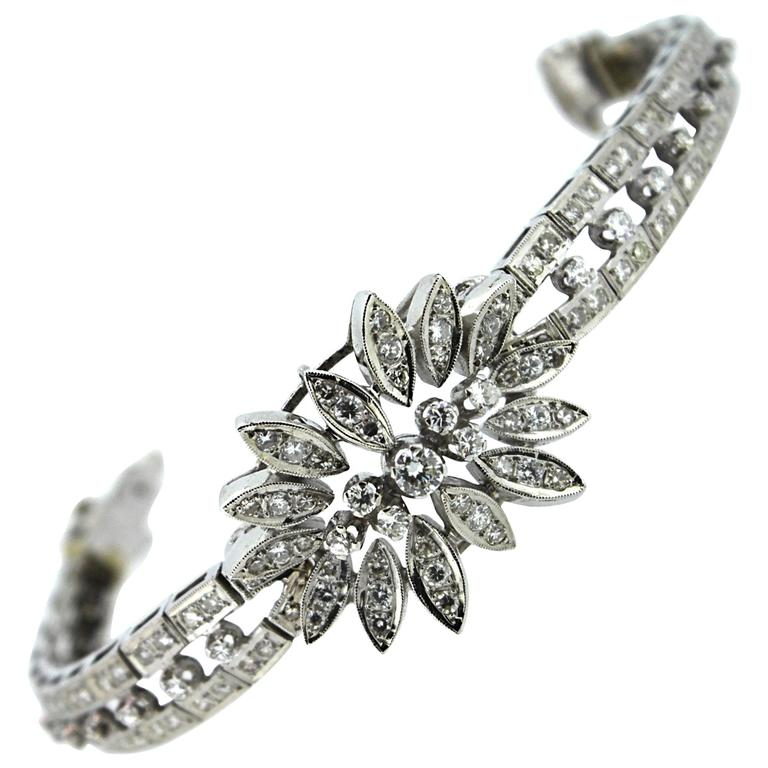 1960s Diamond Gold Floral Link Bracelet