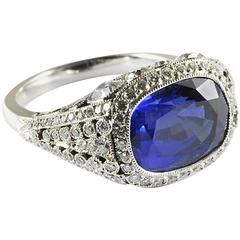 Cushion Sapphire Diamond Platinum Ring