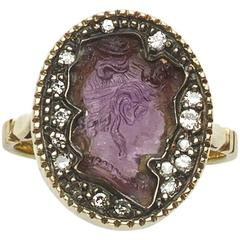 Amethyst Intaglio Diamond Gold Ring